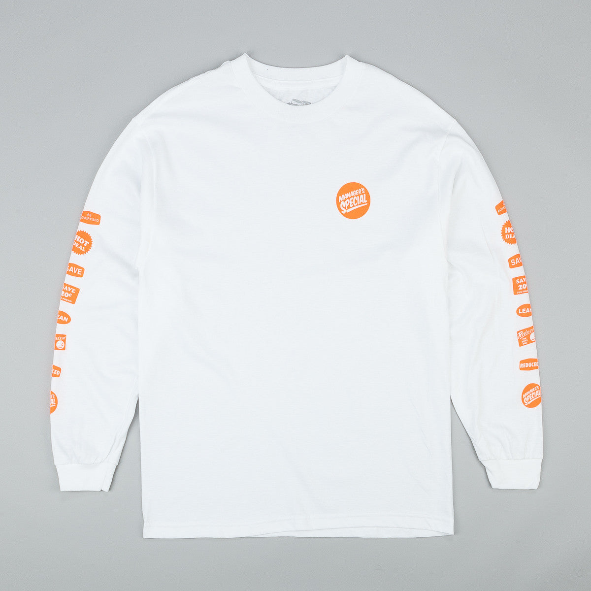 Managers Special Grocery Label Long Sleeve T-Shirt - White