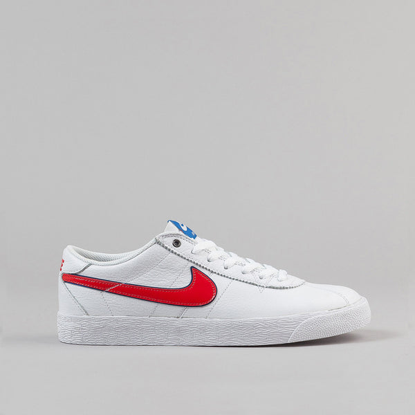 Nike SB Bruin Premium Shoes - White / University Red - Blue Spark