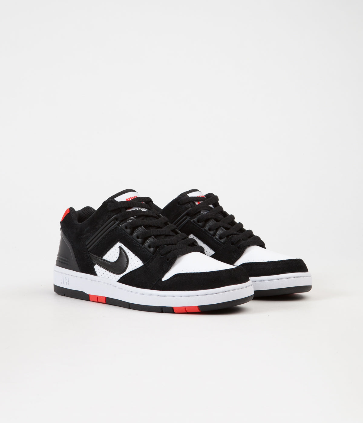 5b66a2493 ... Nike SB Air Force II Low Shoes - Black / Black - White - Habanero Red  ...