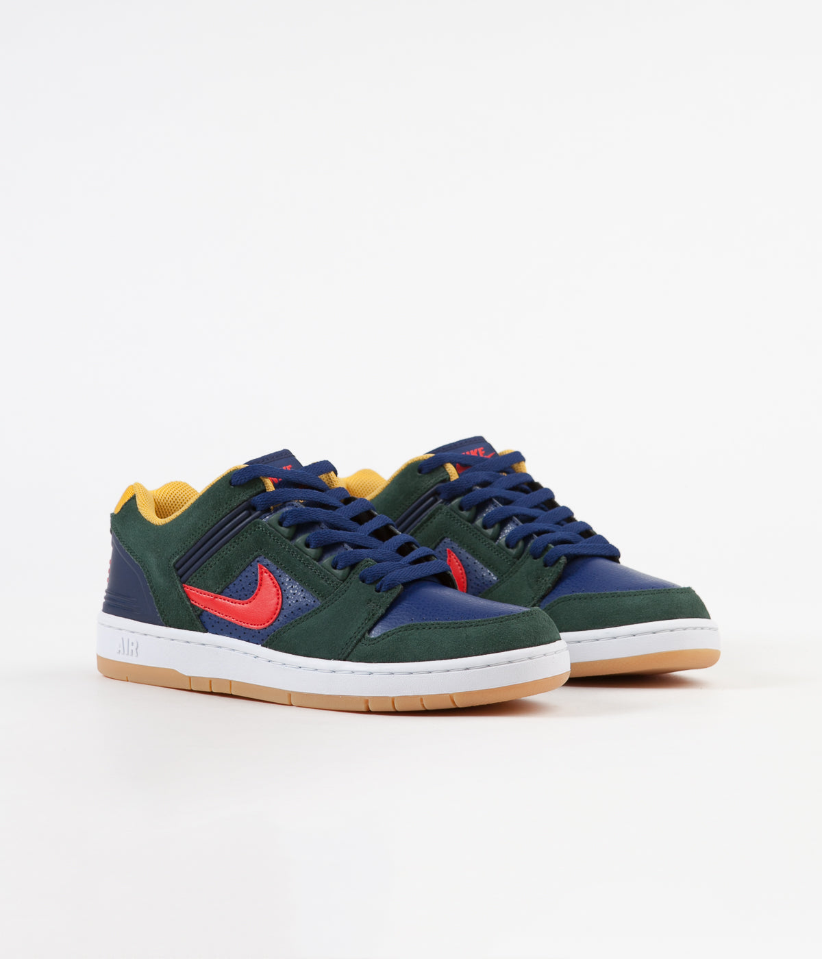 Nike SB Air Force II Low Shoes - Midnight Green / Habanero Red - Blue Void