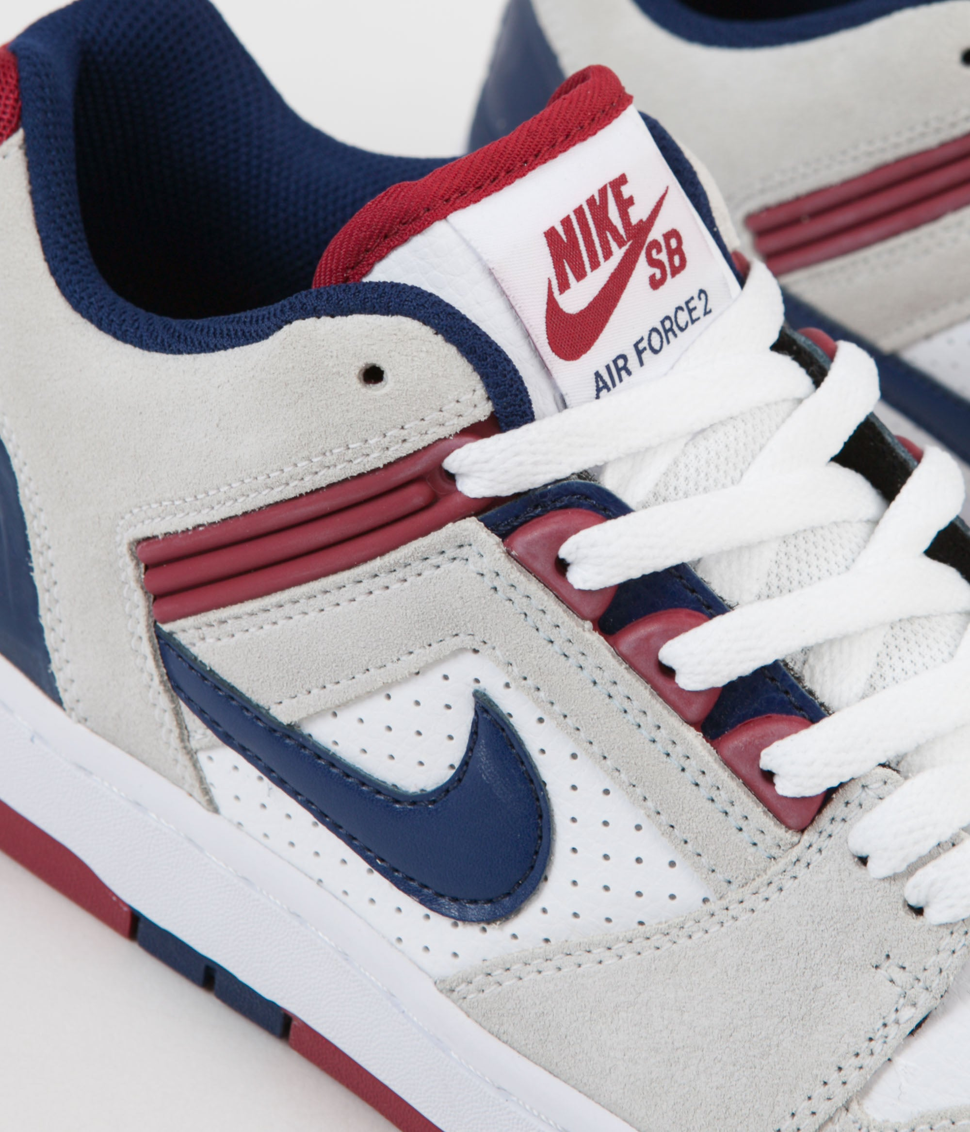 huge discount b9485 305c3 ... Nike SB Air Force II Low Shoes - White   Blue Void - Red Crush ...