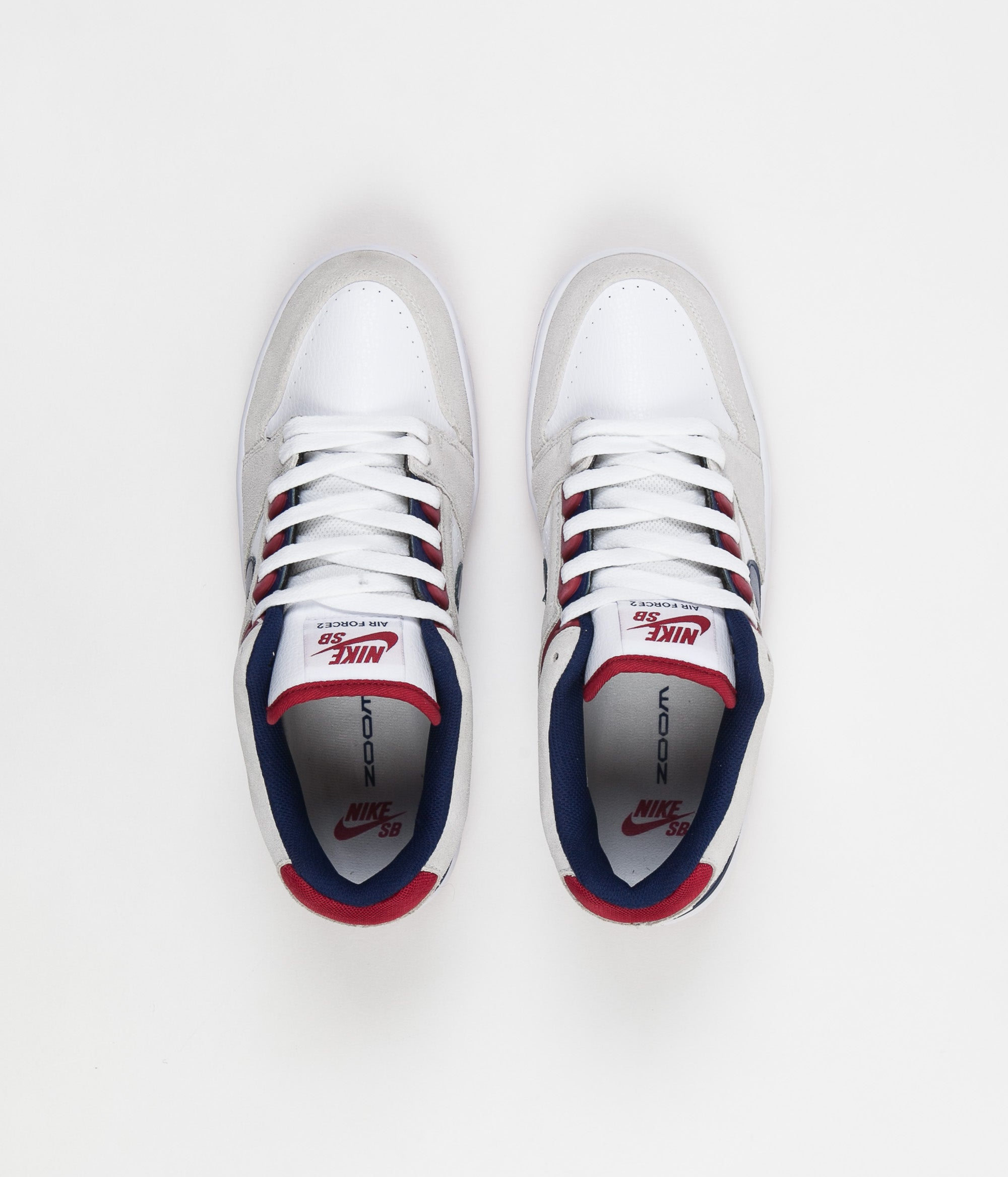 outlet store 411f9 bc4c4 Nike SB Air Force II Low Shoes - White   Blue Void - Red Crush ...