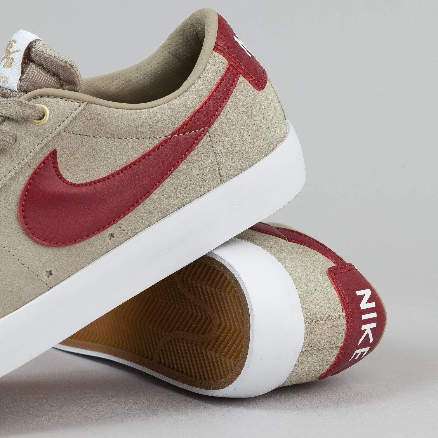 Nike SB Blazer Low GT Shoes - Bamboo / Team Red / White