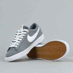 Nike SB Blazer Low GT Shoes - Cool Grey / White - Tide Pool Blue