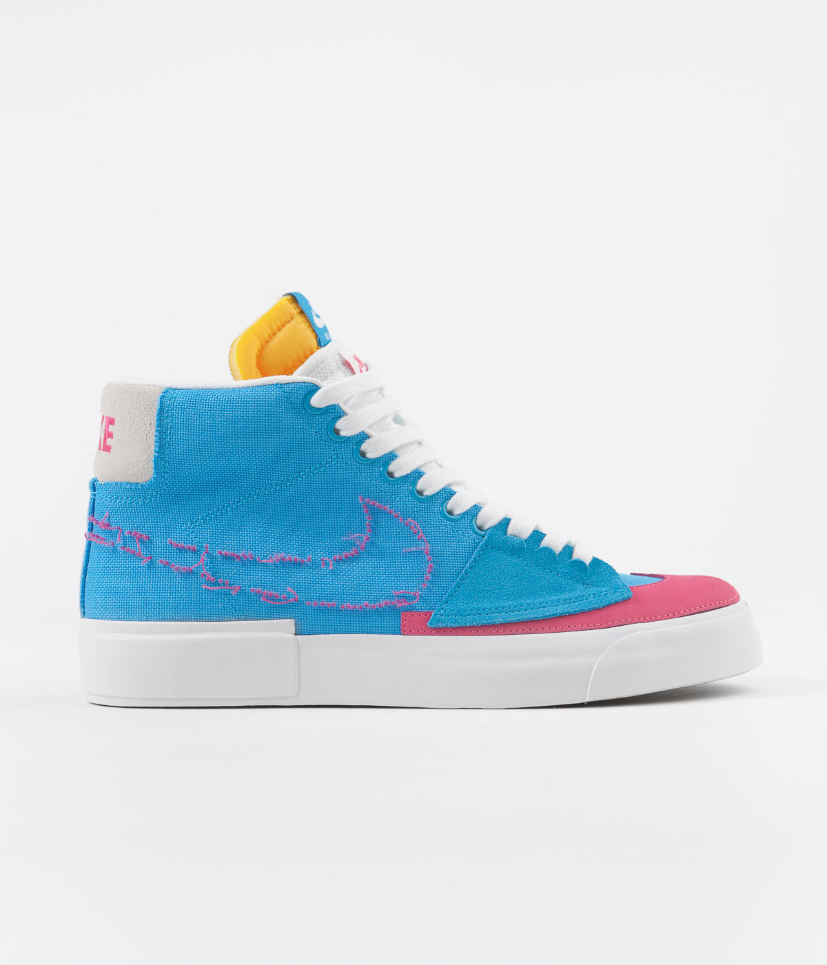 Nike SB Blazer Mid Edge Shoes - Laser Blue / Watermelon - University Gold