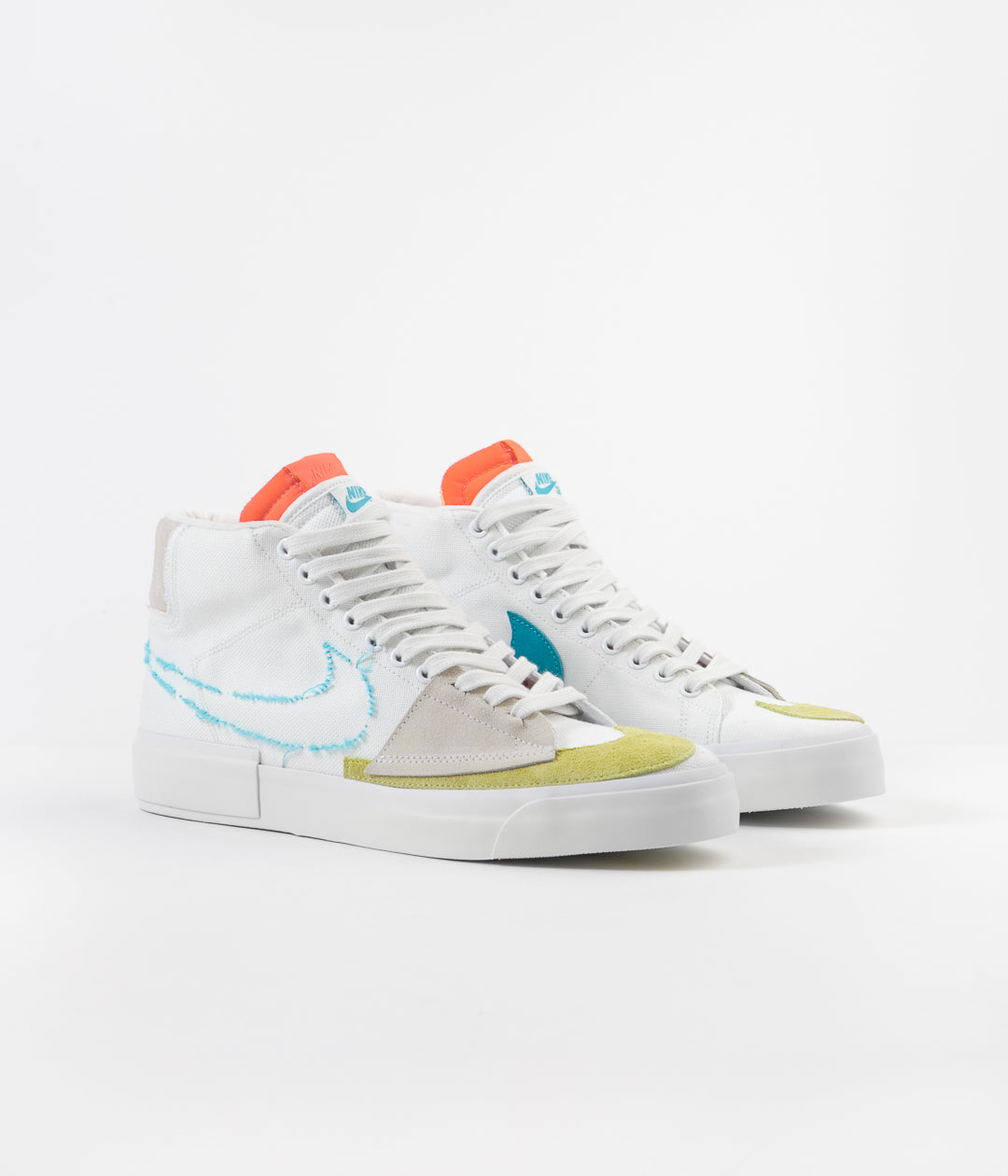 Nike SB Blazer Mid Edge Shoes - Summit White / Oracle Aqua - Summit White