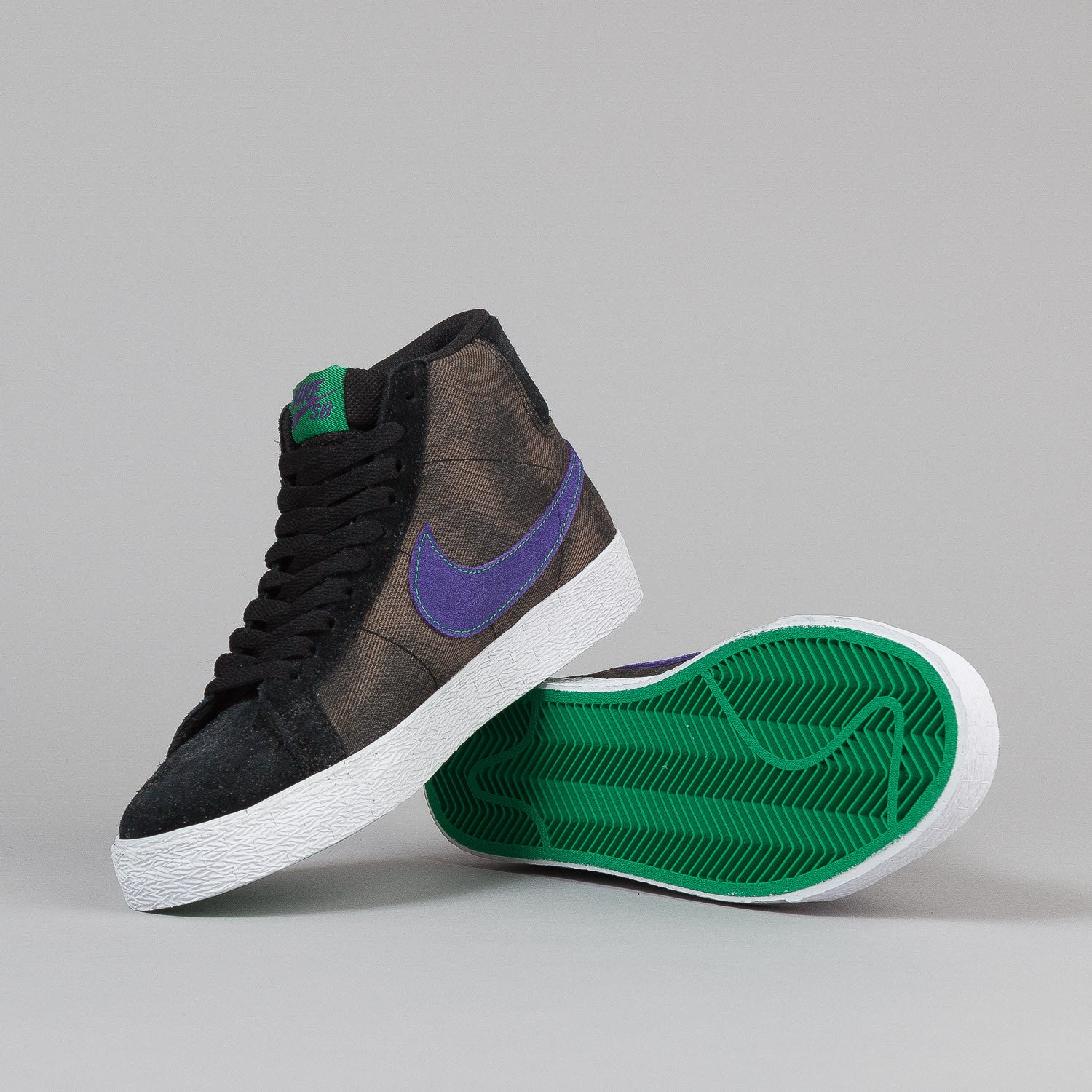 Nike SB Blazer Shoes - Black / Varsity Purple / Volt