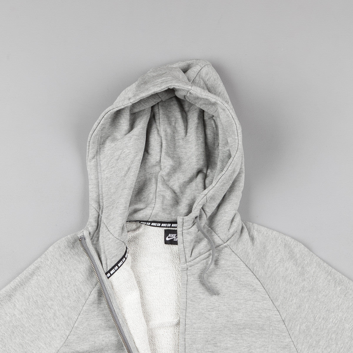 Nike SB Everett Graphic Full-Zip Hooded Sweatshirt - Dark Grey Heather / White