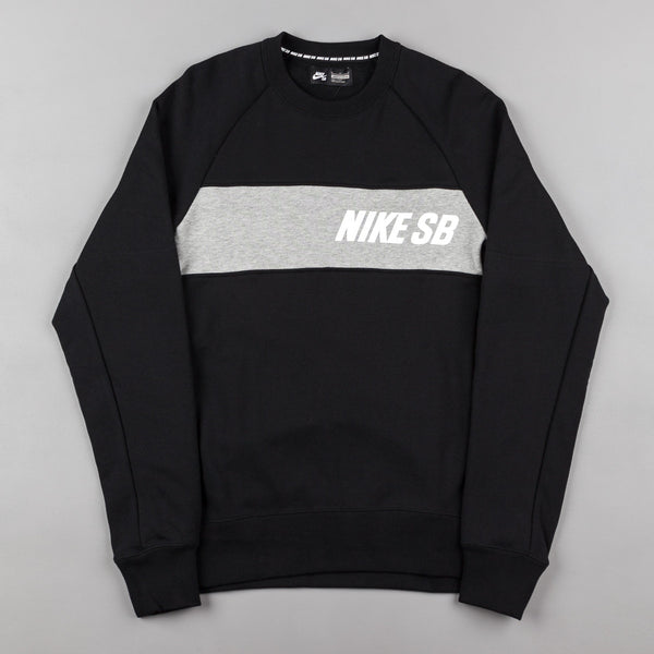 Nike SB Everett Graphic Crewneck Sweatshirt - Black / Dark Grey Heather / White