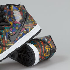 Nike SB x Concepts Dunk High QS Shoes - Stained Glass – Varsity Red / Black - Mango