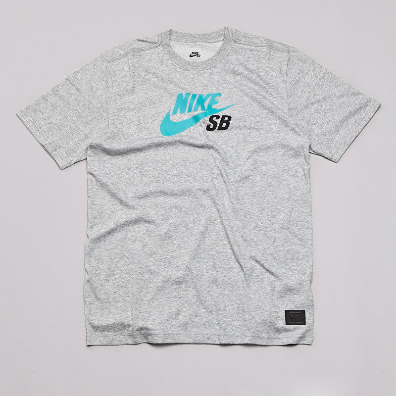 Nike Sb Dri-fit Icon Logo T Shirt Dark Heather Grey / Turbo Green