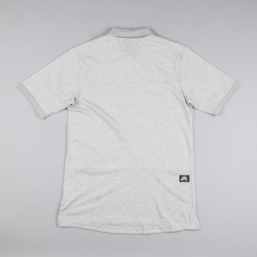 Nike SB Dri-Fit Pique Polo Shirt - Grey Heather / White