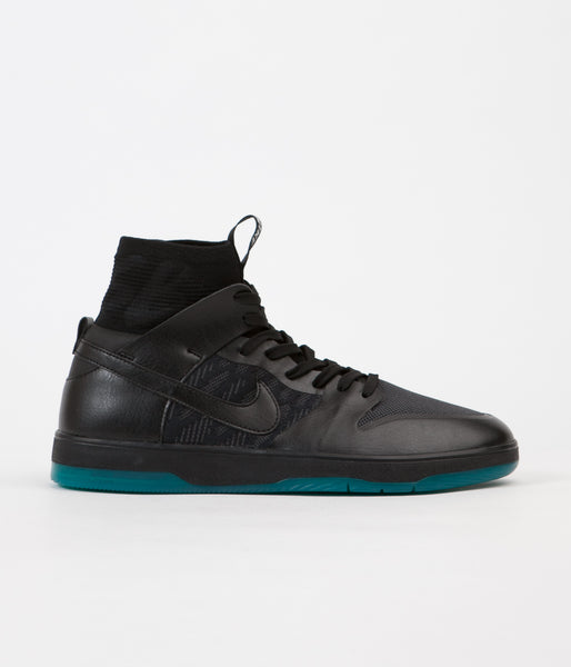 Nike SB Dunk High Elite Shoes - Black / Black - Dark Atomic Teal