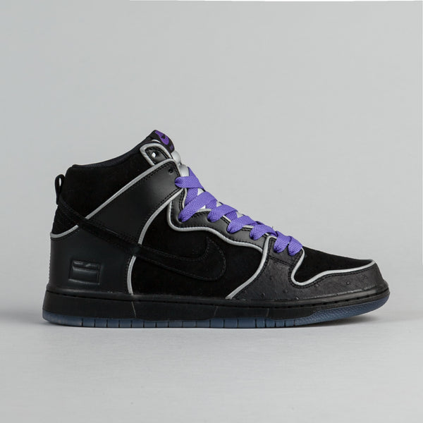 Nike SB Dunk High Elite Shoes - Black / Black - White - Purple Haze