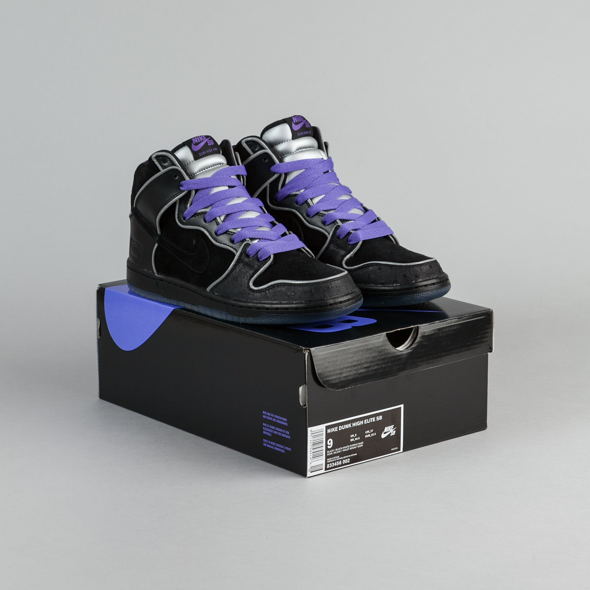 ... Nike SB Dunk High Elite Shoes - Black   Black - White - Purple Haze ... 5716bd10f7