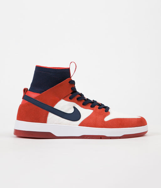 Nike SB Dunk High Elite Shoes - University Red / College Navy - White