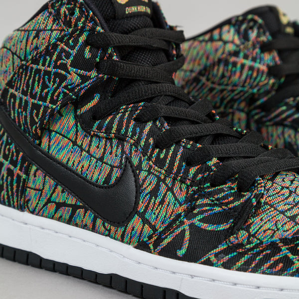 brand new fd5bc e8781 Nike SB Dunk High Premium  Tripper  Shoes - Black   Black - Rainbow -    Flatspot