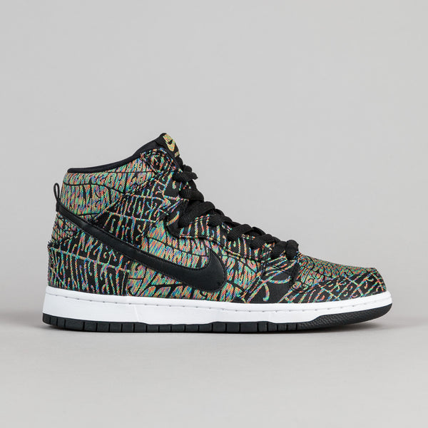 Nike SB Dunk High Premium 'Tripper' Shoes - Black / Black - Rainbow - White