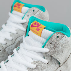 Nike SB Dunk High Premium Shoes 'Flamingo' - White / White - Hyper Jade