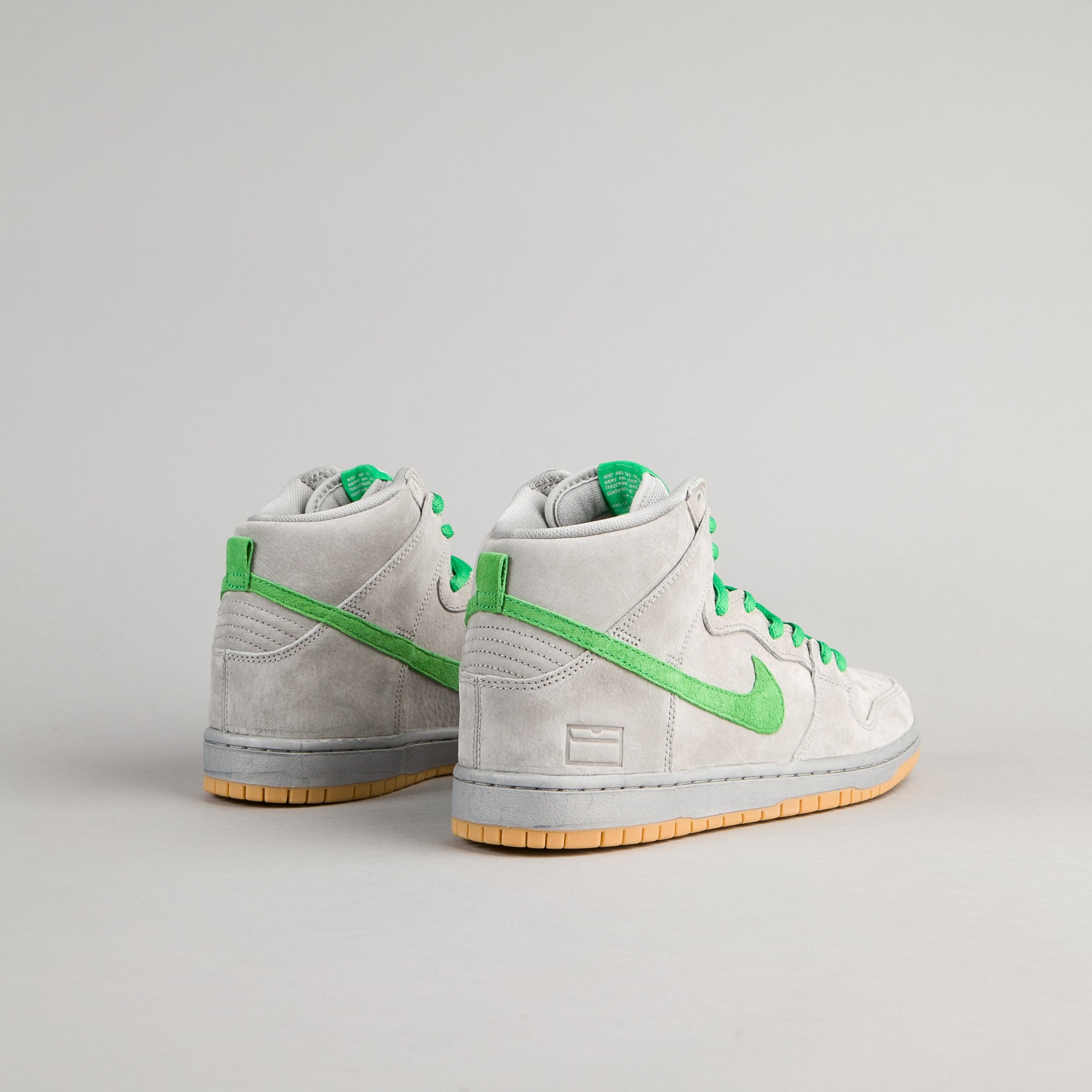 Nike SB Dunk High Premium Shoes - Metallic Silver / Hyper Verde - Gum Yellow