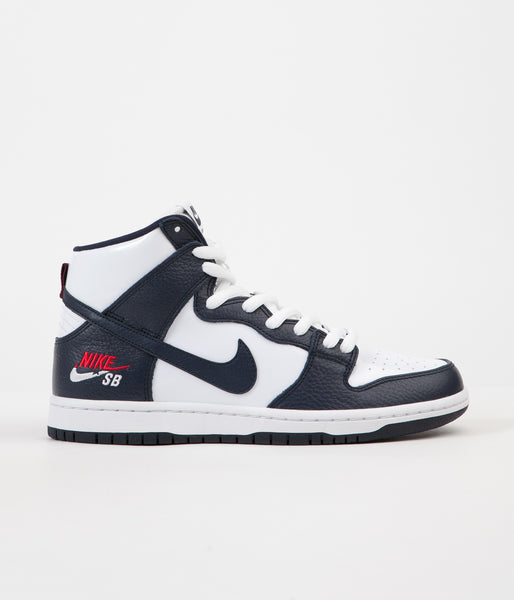 Nike SB Dunk High Premium Shoes - Obsidian / Obsidian - White - University Red