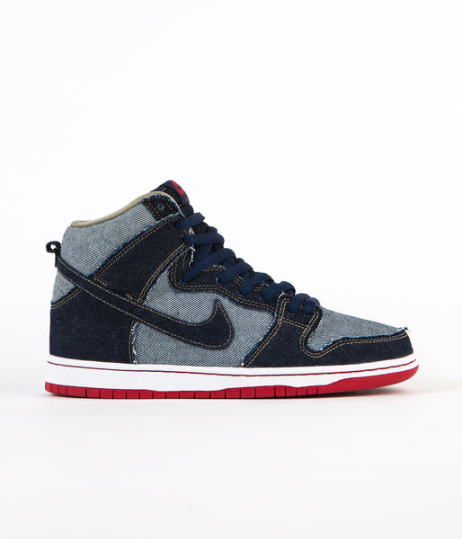 Nike SB Dunk High Pro Denim 'Reese Forbes' Shoes - Midnight Navy / White - Deep Red - Midnight Navy