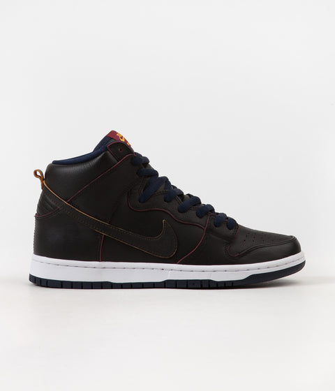 Nike SB Dunk High Pro NBA Shoes - Black/ Black - College Navy - Team Red