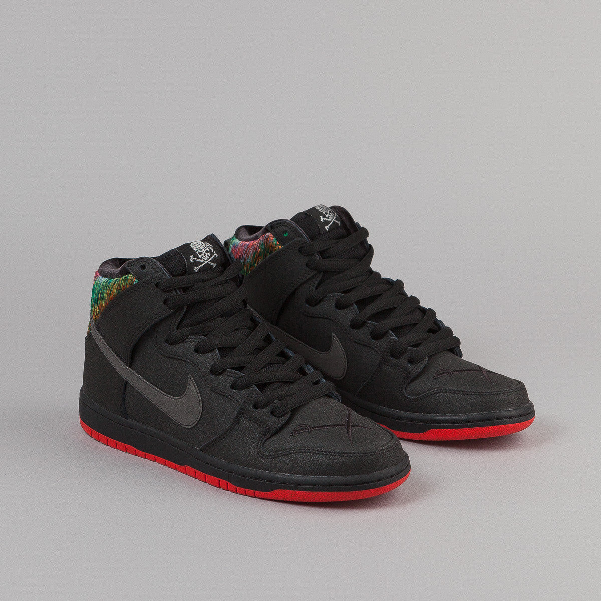 Nike SB Dunk High Pro Shoes - Black / Black - Challenge Red - Metallic Silver
