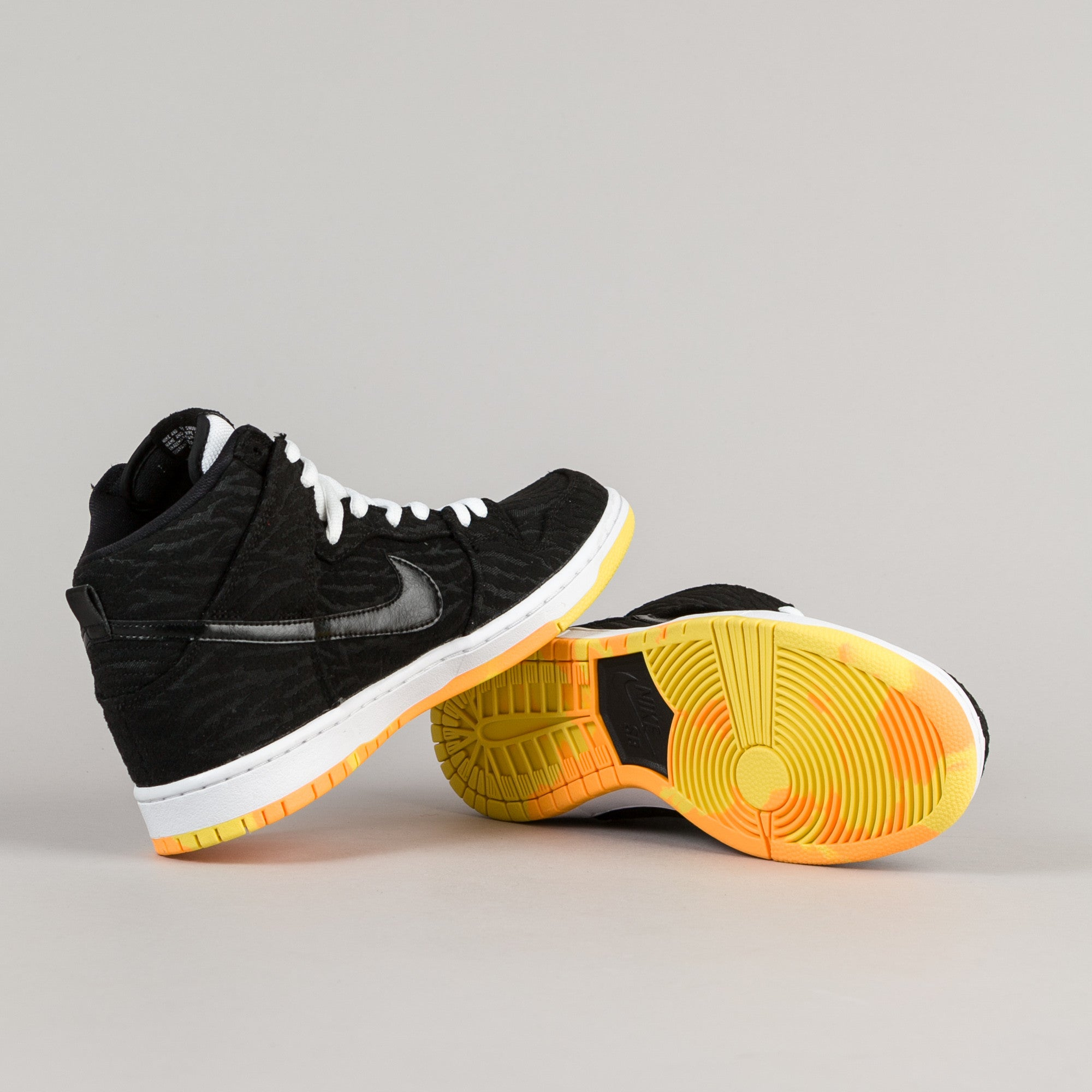 Nike SB Dunk High Pro Shoes - Black / Black - White - Laser Orange