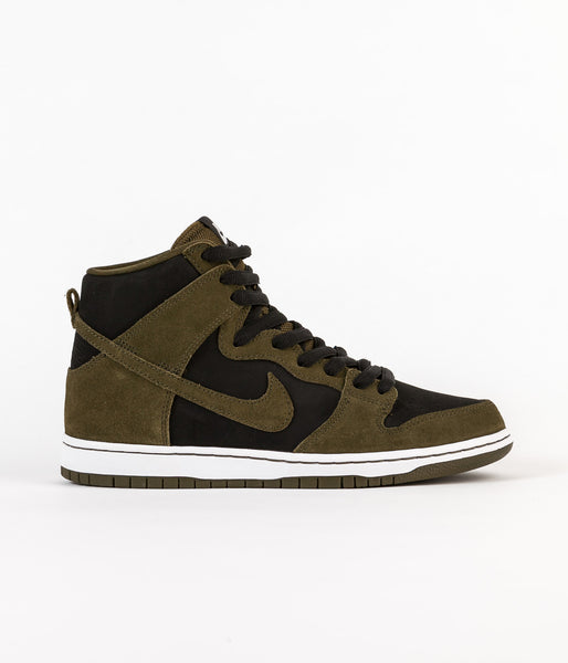 Nike SB Dunk High Pro Shoes - Dark Loden / Dark Loden - Black - White