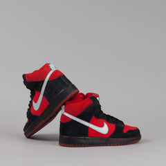 Nike SB Dunk High Pro Shoes - Sport Red / Metallic Platinum