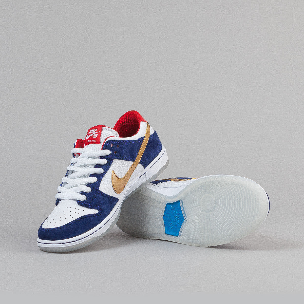 Nike SB Dunk Low Pro Ishod Wair QS Shoes - Deep Royal Blue / Metallic Silver - University Red