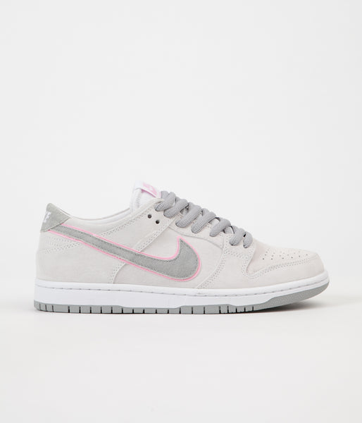 Nike SB Dunk Low Pro Ishod Wair Shoes - White / Perfect Pink - Flat Silver
