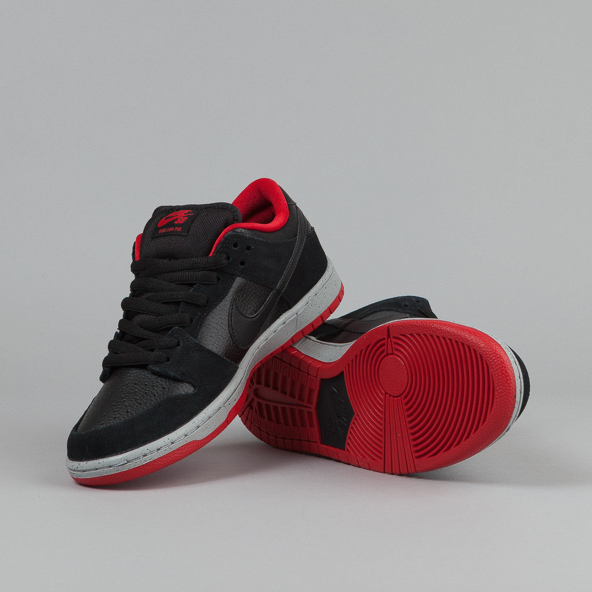 Nike SB Dunk Low Pro Shoes - Black / Black / Wolf Grey / University Red
