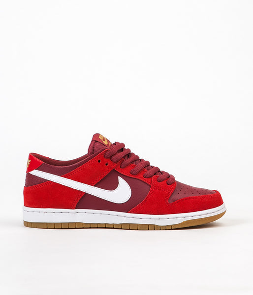 Nike SB Dunk Low Pro Shoes - Track Red / White - Cedar - Gum Light Brown