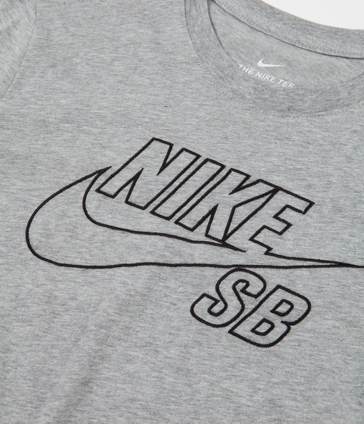 Nike SB Embroidered Logo T-Shirt - Dark Grey Heather / Black