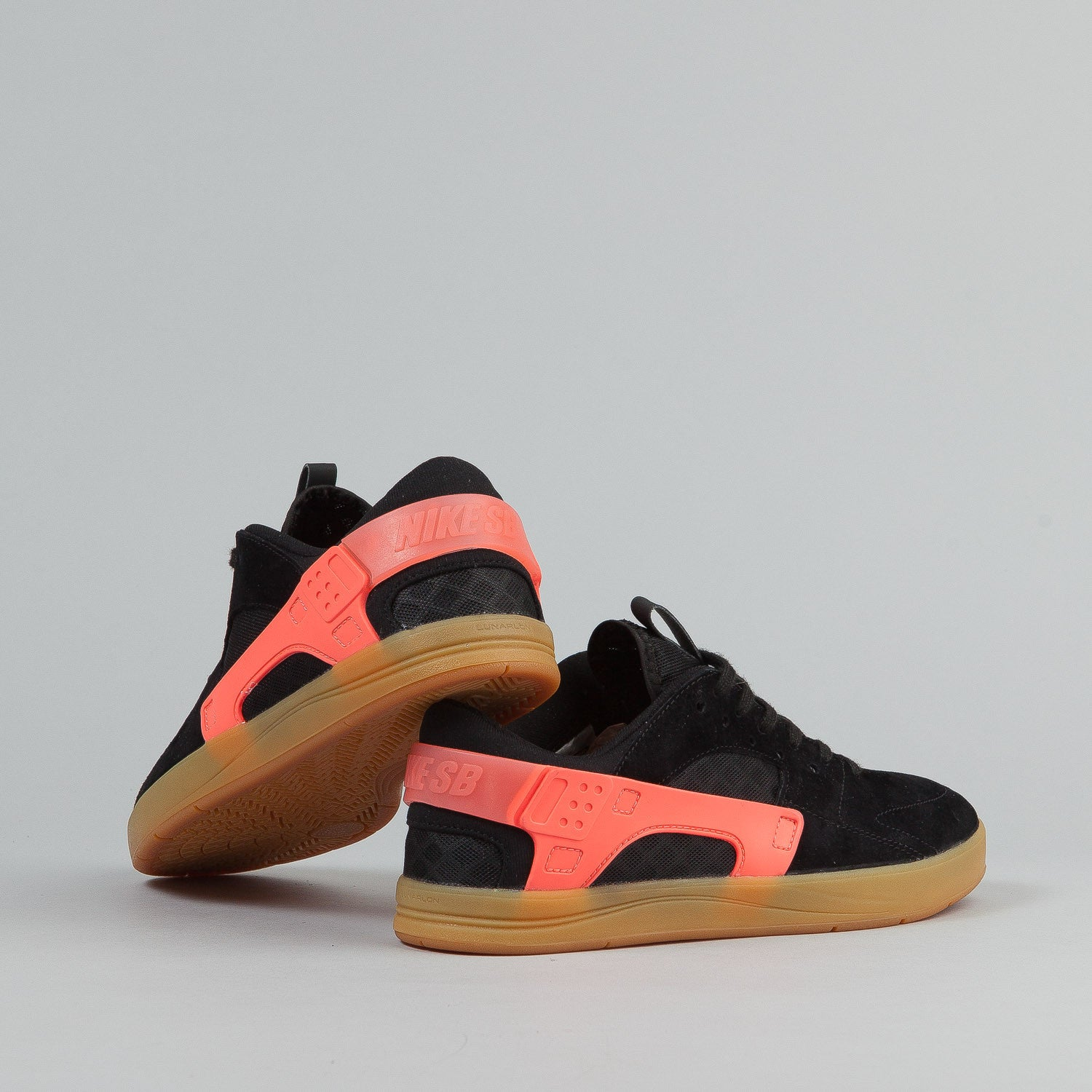 Nike SB Eric Koston Huarache Shoes - Black / Hot Lava / Gum Light Brown