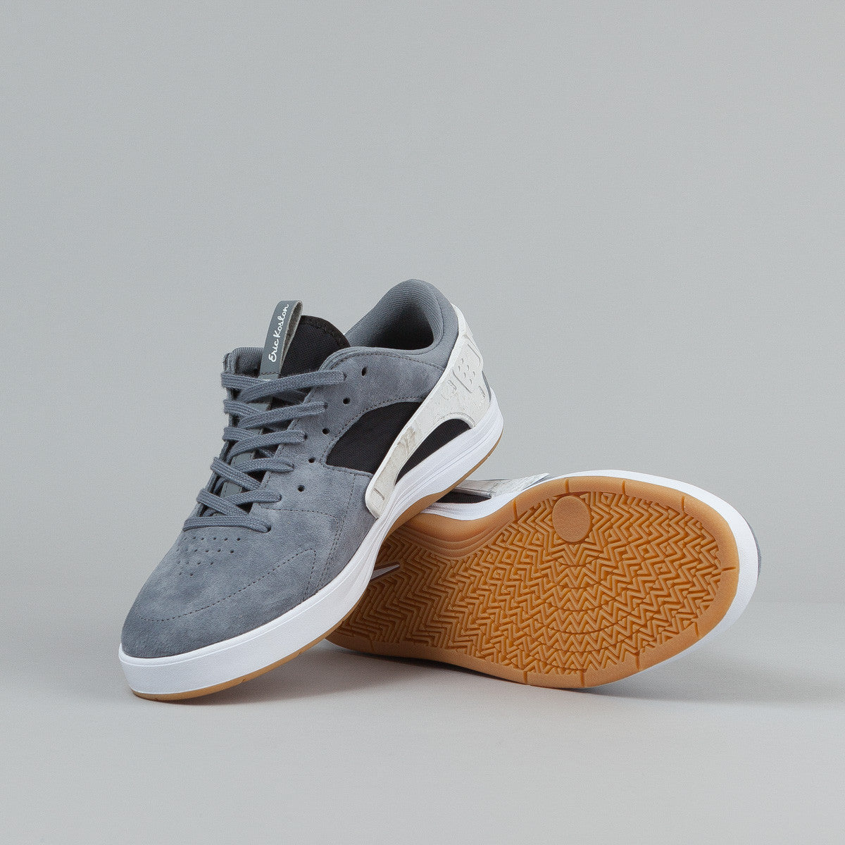 Nike SB Eric Koston Huarache Shoes - Cool Grey / Black - White - Gum