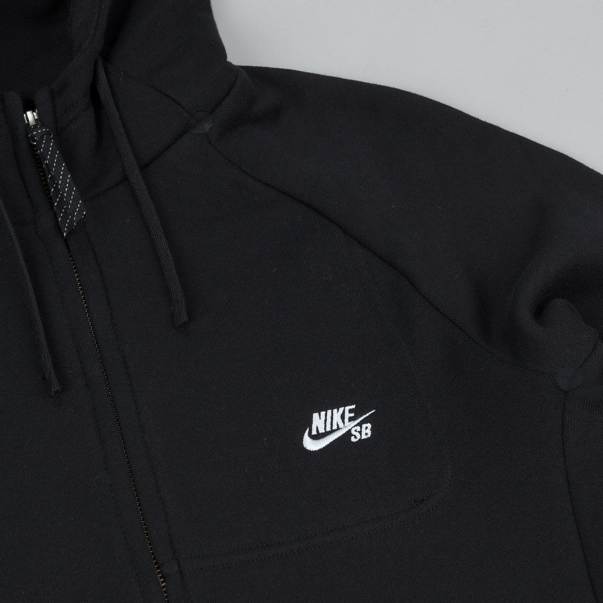 Nike SB Everett Graphic Zip Hooded Sweatshirt - Black / White