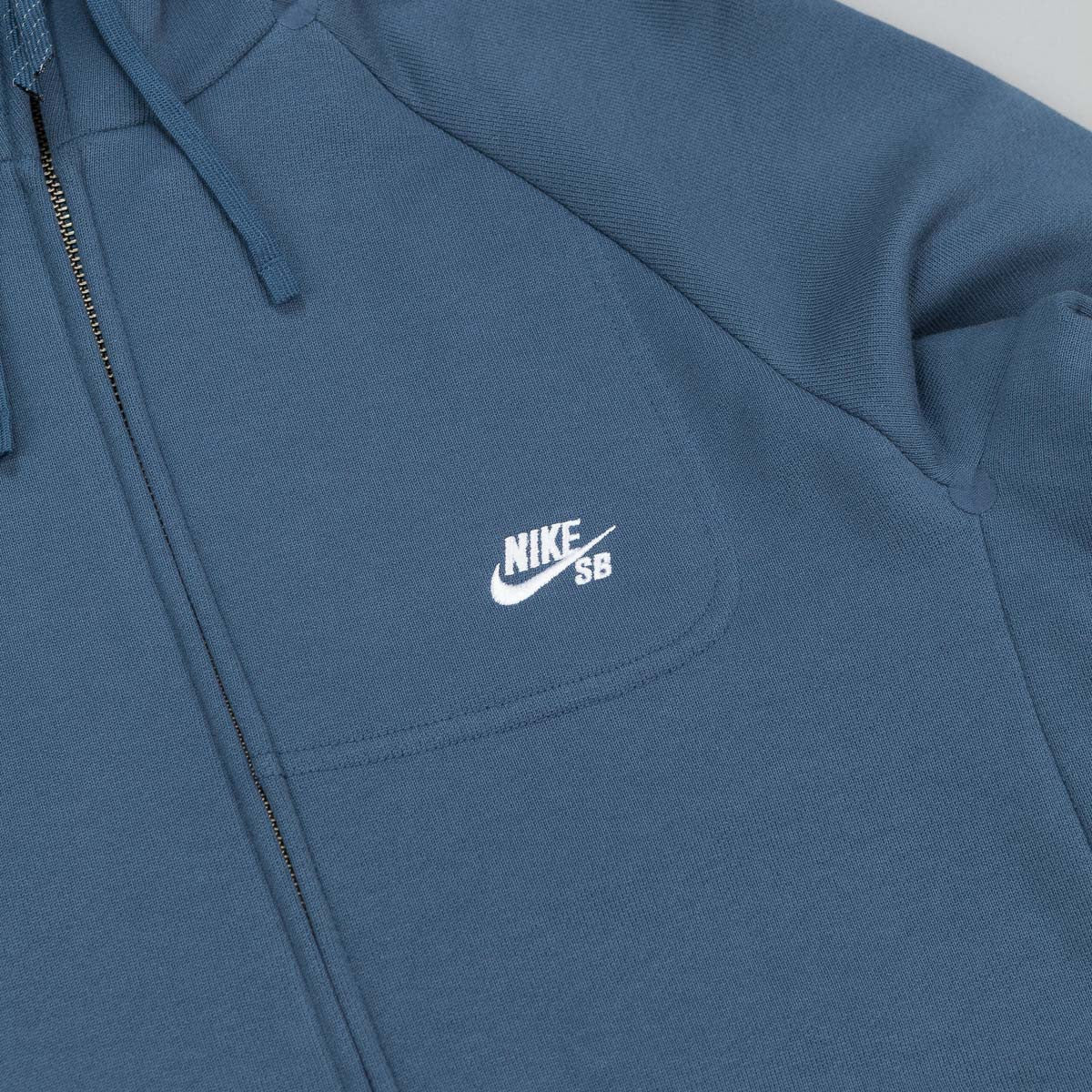 Nike SB Everett Graphic Zip Hooded Sweatshirt - Squadron Blue / White