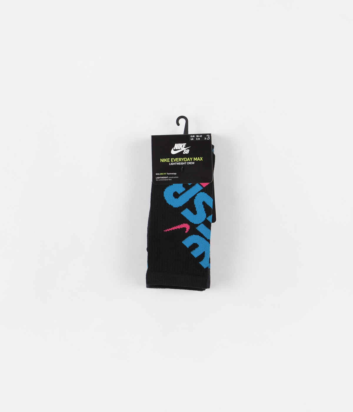 Nike SB Everyday Max Lightweight Crew Socks (3 Pair) - Black / Multicolour