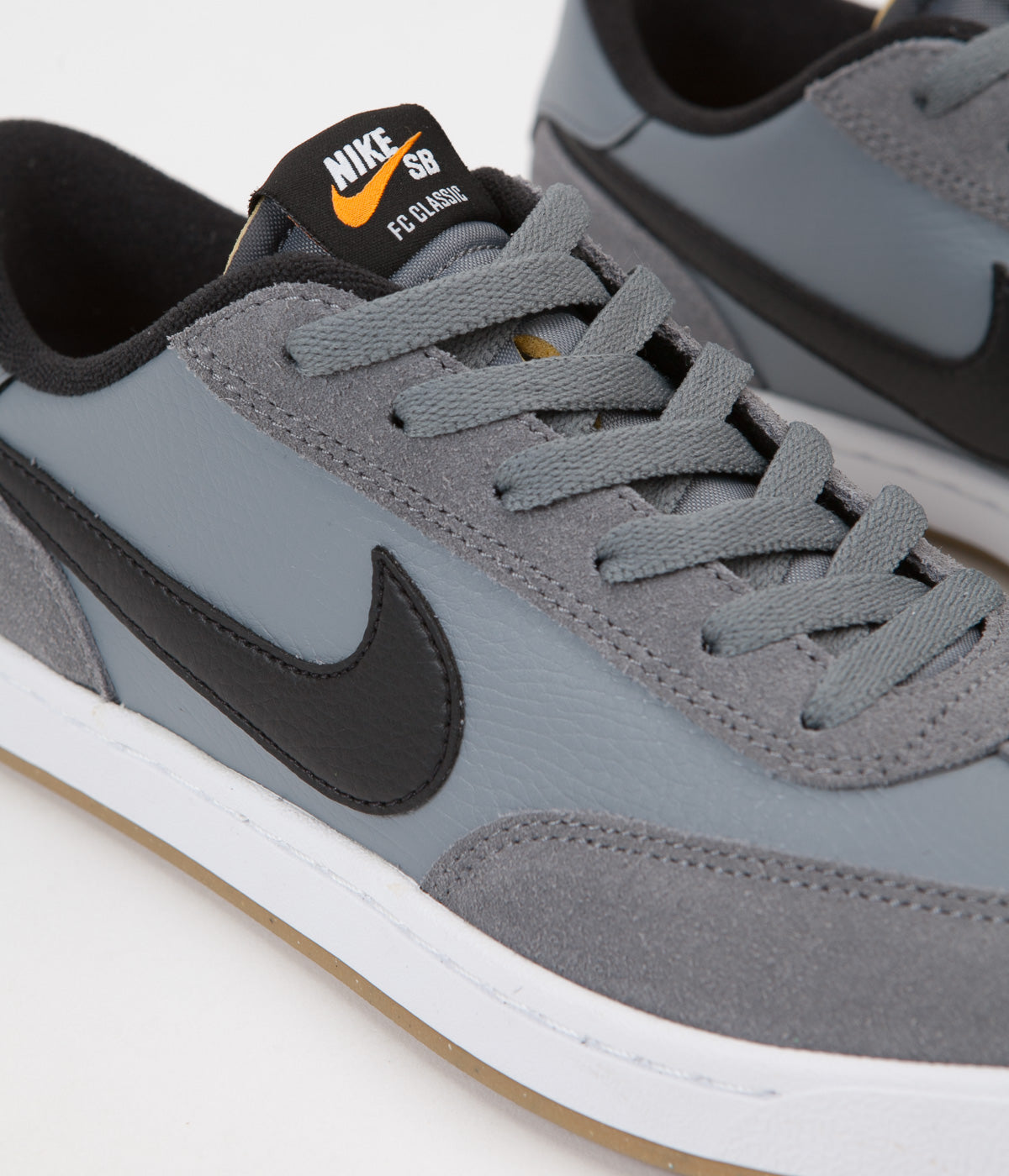 Nike SB FC Classic Shoes - Cool Grey / Black - White - Vivid Orange