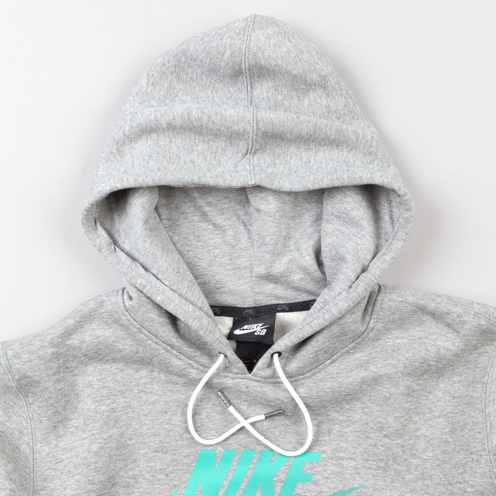 Nike Sb Icon Gradient Hooded Sweatshirt Dark Grey Heather / Crystal Mint