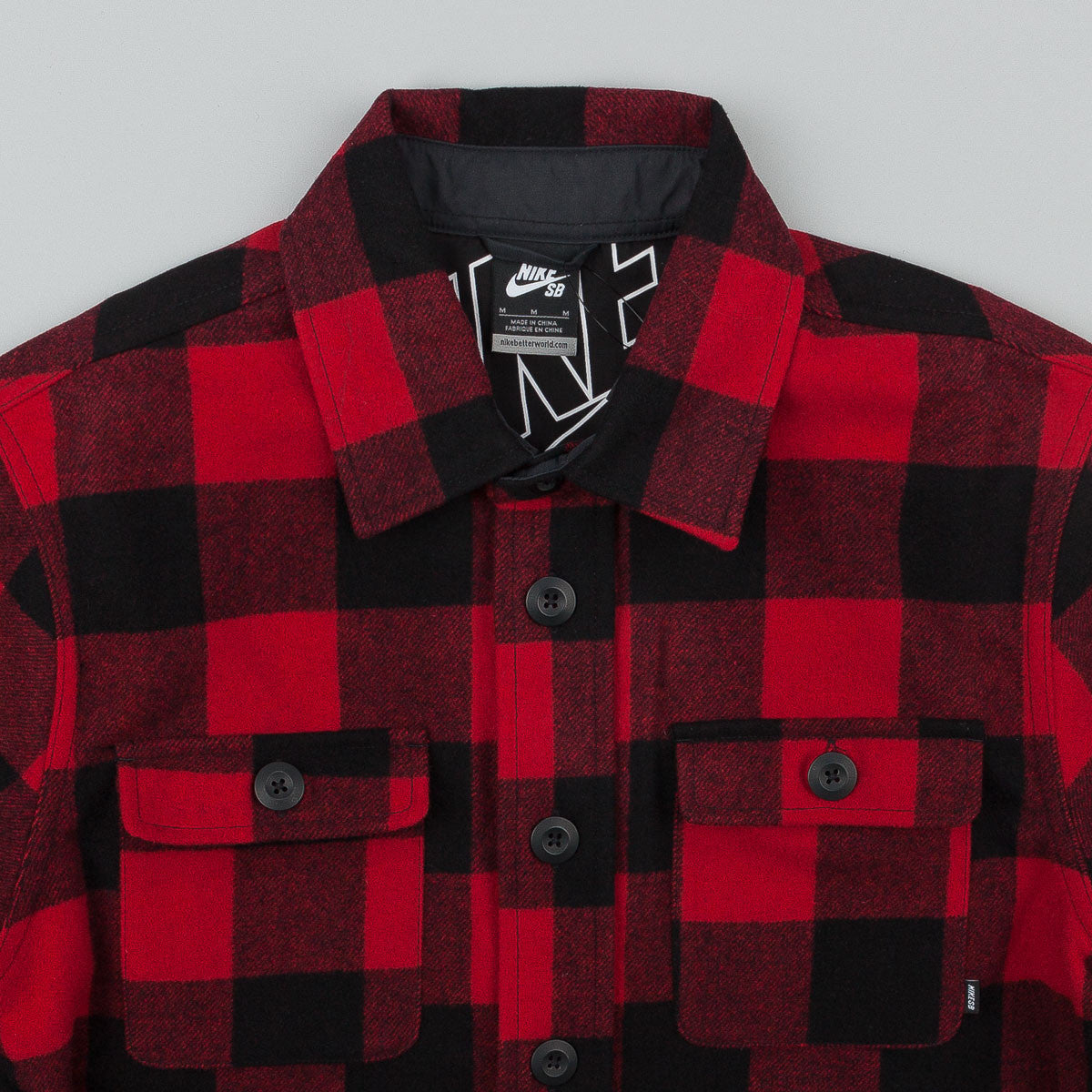 Nike SB Holgate Wool Long Sleeve Shirt - Gym Red