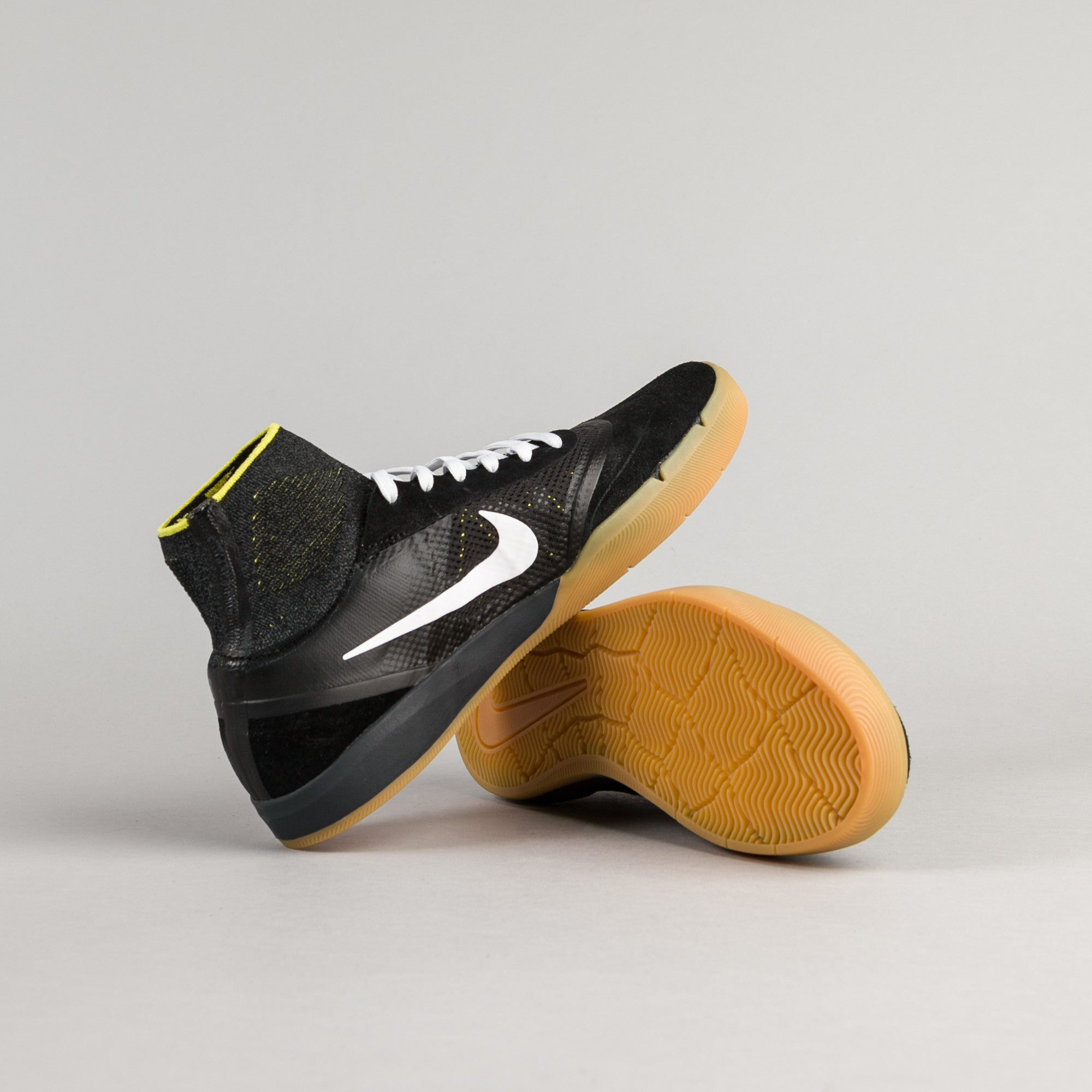 Nike SB Koston 3 Hyperfeel Shoes - Black / White - Yellow Strike