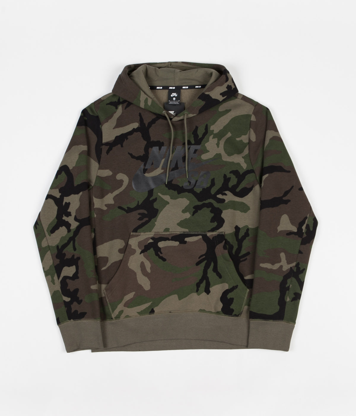 affordable price most popular best loved Nike SB Icon Camo Skate Hoodie - Medium Olive / Medium Olive / Black