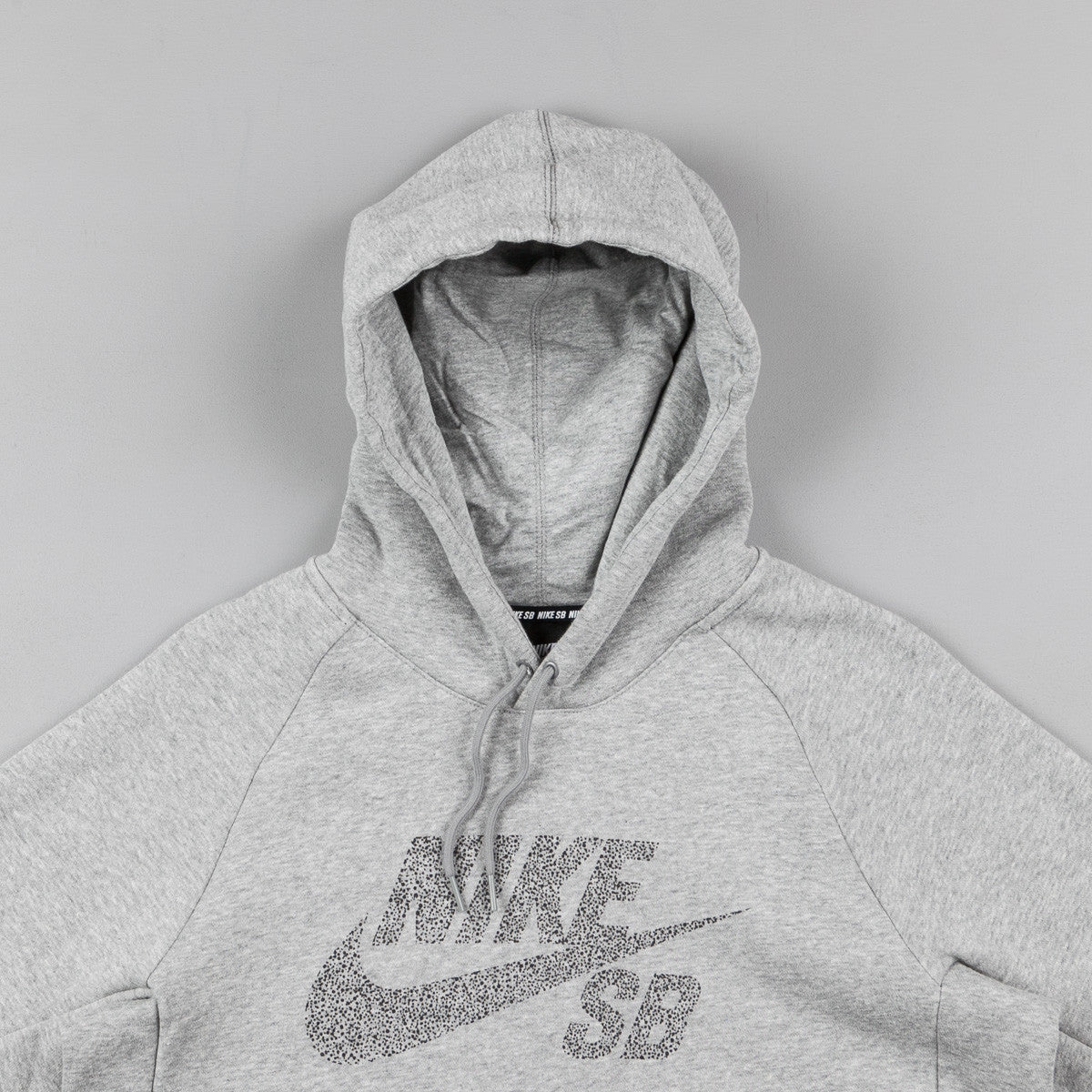 Nike SB Icon Dots Pullover Hooded Sweatshirt - Dark Grey Heather / Black