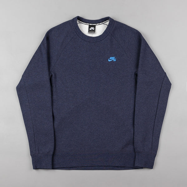 Nike SB Icon Crew Neck Sweatshirt - Obsidian heather / Light Photo Blue