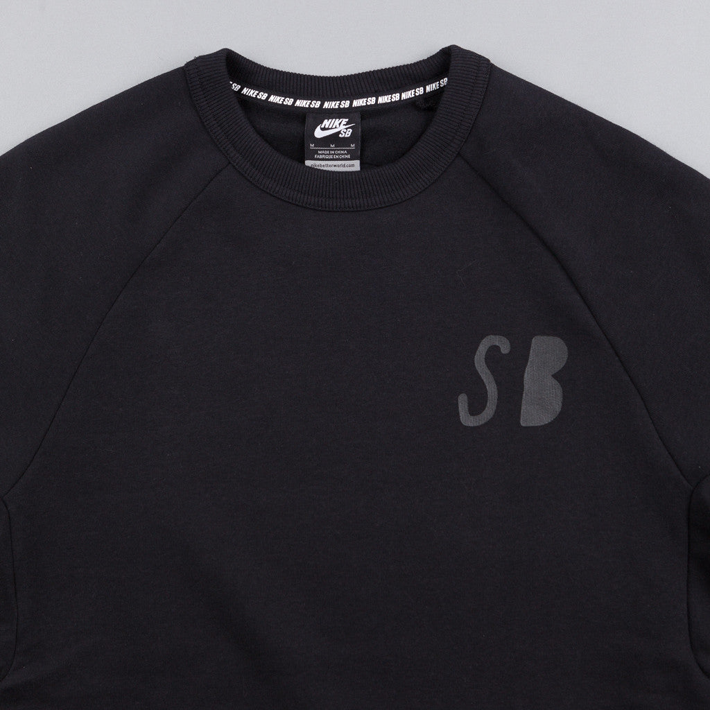 Nike SB Icon Graphic Fleece Crewneck Sweatshirt - Black / Black