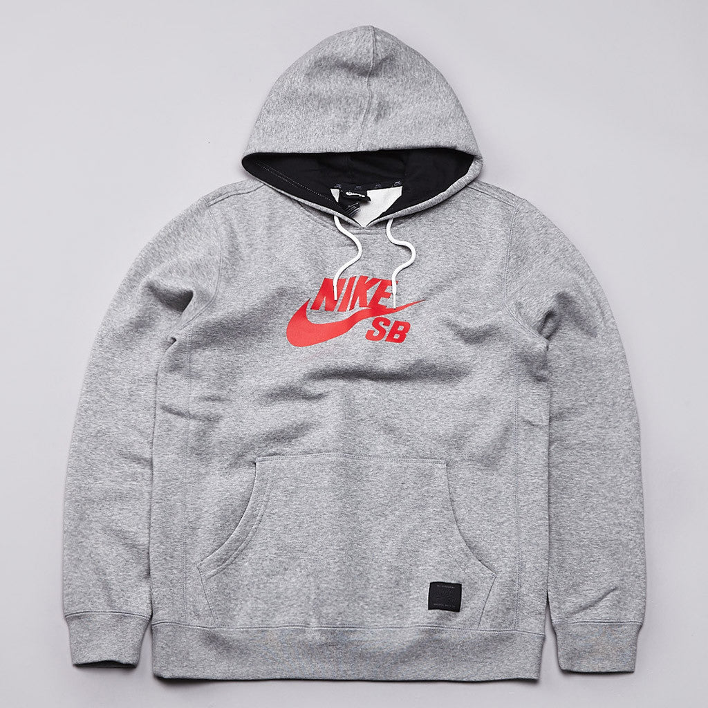 Nike SB Icon Hooded Sweatshirt Dark Grey Heather / Light Crimson